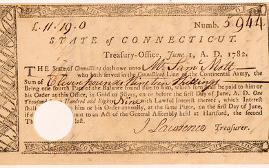 State of Connecticut Treasury Office Army pay #106319