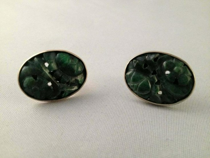 Sterling Silver Oval Chinese Carved Jade Earrings