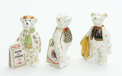 THREE ROYAL CROWN DERBY PAPERWEIGHTS, INCLUDING 'ROBIN SHOPPER BEAR', 'ROYAL NEWSPAPER BEAR' AND 'MINI SHOPPING BEAR', LEONARD JO