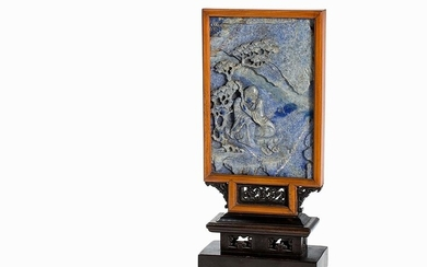 Table Screen with Lapis Lazuli Relief of a Luohan, 18th/19th C. | Tischschirm mit Lapislazuli-Relief eines Luohan, 18./19. Jh.