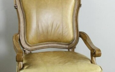 Tan Leather Occasional Armchair