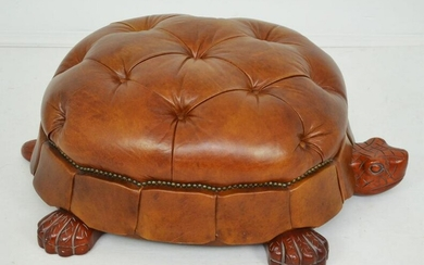 The Coolest Large Leather & Wood Turtle Ottoman