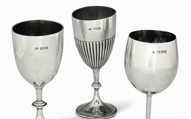 Three silver goblets, England, early 1900s