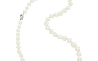 Tiffany & Co. Cultured Pearl Necklace with Platinum and Diamond Clasp