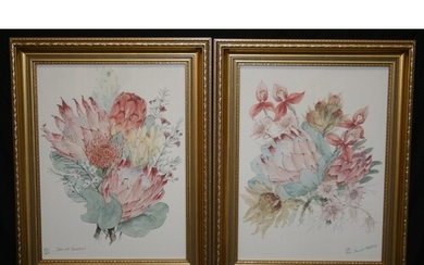 Two floral LE prints 73/700 & 108/700, signed Janet Bester