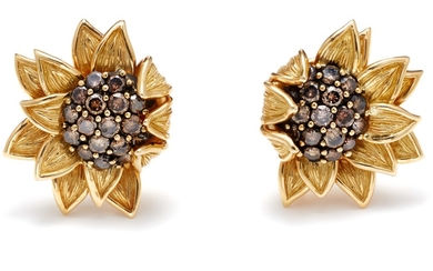Valentin Magro, A Pair of Colored Diamond and Gold 'Sunflower' Earrings
