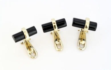 Van Cleef & Arpels - 18 kt. Yellow gold - Buttons or Collar Clips Onyx