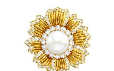 Van Cleef & Arpels Gold, South Sea Cultured Pearl and Diamond Flower Clip-Brooch