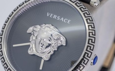 Versace - Palazzo Empire Black and Silver Dial 39 MM Black leather strap Swiss Made- VCO060017 - Women - Brand New