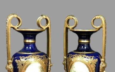 Very large vases - in the style of Sévres (h. 55cm) - Napoleon III - Gilt, Porcelain