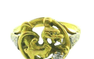 Victorian 18k Yellow Gold Diamond Dragon Rooster