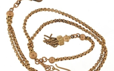 Victorian 9ct rose gold watch chain, 40cm in length, 23.6g