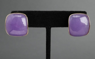Vintage 14K Yellow Purple Jade Earrings