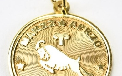 Vintage 14kt Yellow Gold Aries Charm Pendant