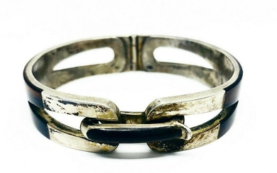 Vintage GUCCI Italy Sterling Silver Wood Buckle Bangle