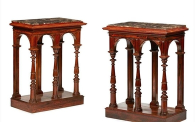 Y FINE PAIR OF REGENCY ROSEWOOD MARBLE TOP CONSOLE TABLES EARLY 19TH CENTURY