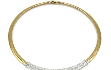 18Kt Yellow Gold Invisible Set Diamond Omega Necklace