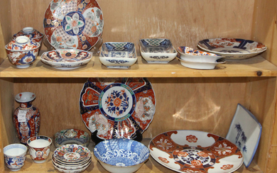 (lot of 22) Two Shelves of Japanese Imari Ware