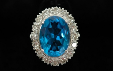 11.20 CT Blue Topaz & Diamond Ring Sz 6