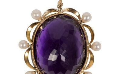 14K Gold Diamond Amethyst and Pearl Enamel Pendant