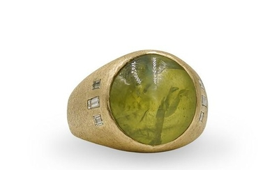 14k Gold, Cats Eye and Diamond Ring