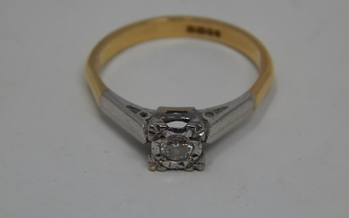 18ct Gold Solitaire Diamond Ring: Illusion Set with a 0.15ct...