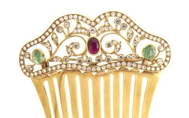18kt yellow gold, diamond, ruby and emerald comb