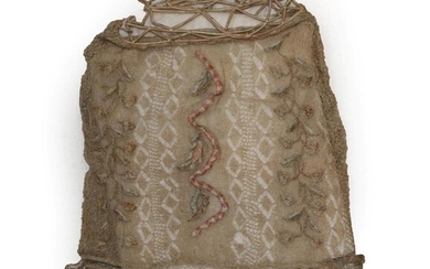 18th Century Pineapple Fibre Knitted Workbag, woven with a diamond...