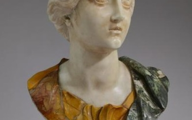 19th c. Italian Neoclassical style carved marble bust