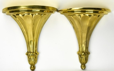 2 Neoclassical Style Gilded Brass Wall Brackets