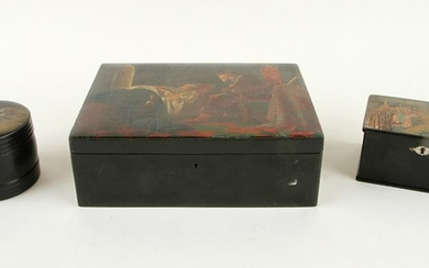 3 RUSSIAN LACQUER BOXES HAND PAINTED SCENES C1900