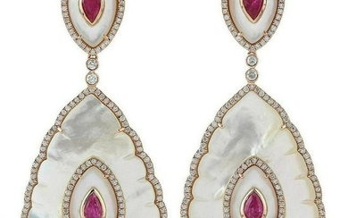 31.17 Carat Mother of Pearl Ruby Diamond 18 Karat Gold