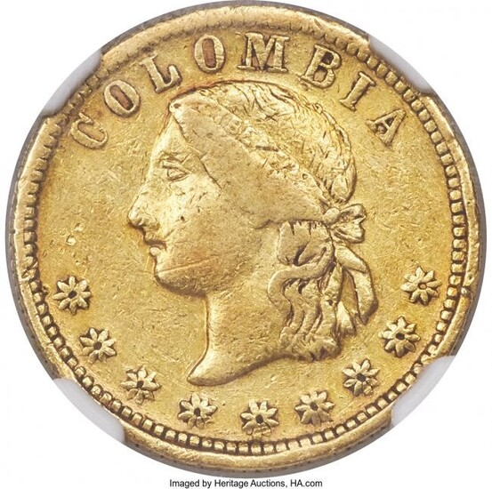 31372: Republic gold 5 Pesos 1864-M VF Details (Cleaned