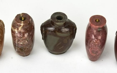 5 Chinese Hardstone Hand Carved Snuff Bottles