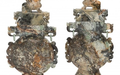 61072: A Pair of Monumental Chinese Carved Hardstone Co