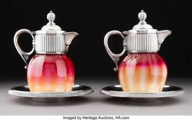 79072: Pair of New England Glass Co. Plated Amberina Gl