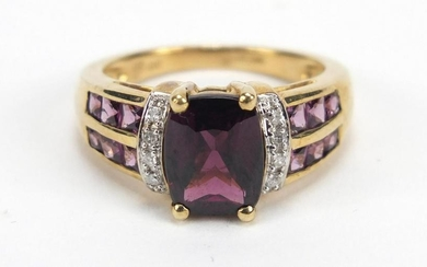 9ct gold purple stone and diamond ring, size L, 4.0g