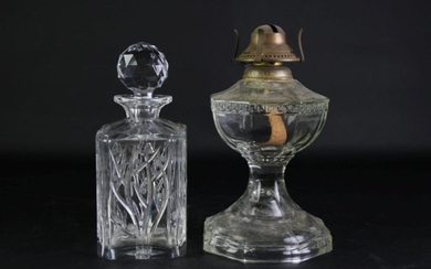 A Bohemia Glass Decanter Together with A Glass Kerosene Lamp (Missing Flume)