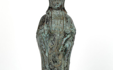 A CHINESE COPPER FIGURE OF A STANDING GUANYIN, QING DYNASTY, 19TH CENTURY