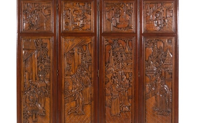 A Chinese Carved Hardwood Four-Panel Screen