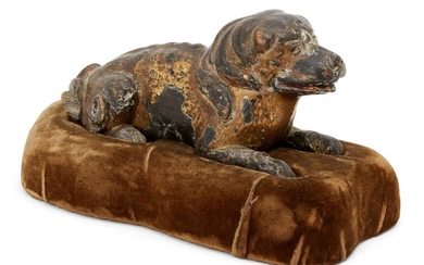 A Chinese parcel gilt carved wood dog,...