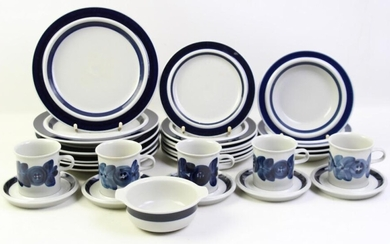 A Collection of Blue and White Arabia Part Dinner Wares