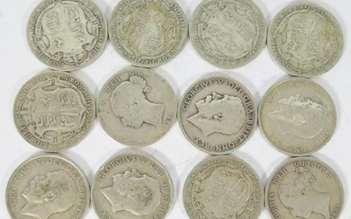 A Collection of Victorian to 1919 Silver Half Crowns, 166g