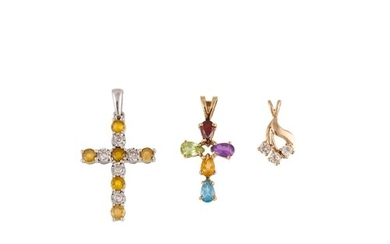 A DIAMOND SET CROSS, together with two other pendants, gold ...
