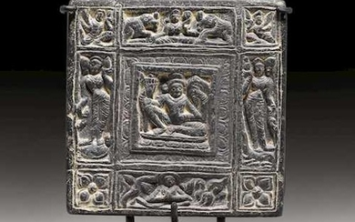 A DOUBLE-SIDED DASHAVATARA BLACK STONE PLAQUE.