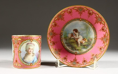A FINE 19TH CENTURY SEVRES CUP AND SAUCER, rose