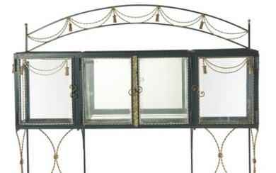 A FRENCH NAPOLEON III STYLE WROUGHT IRON CONSERVATORY VITRINE 20TH CENTURY