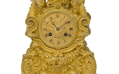 A French Restauration style gilt-bronze mantel clock, late 19th century,...