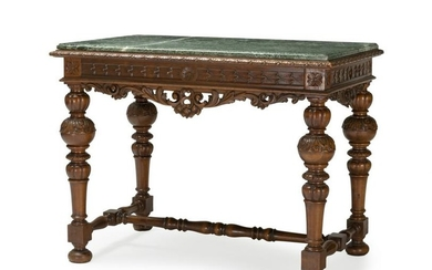 A French carved walnut library table