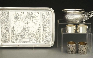 A GORHAM STERLING PORRINGER AND A TRAY.
